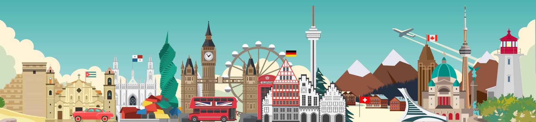 Various landmarks around the world